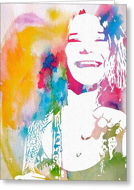 Jani Greeting Cards - Janis Joplin Watercolor Greeting Card by Dan Sproul