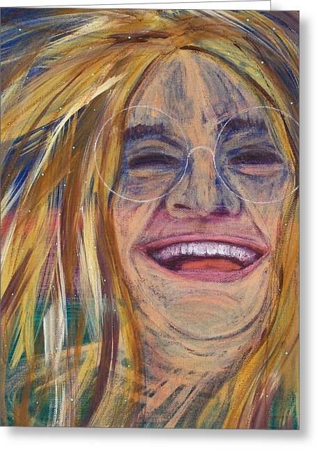 Outsider Art Greeting Cards - Janis Joplin Wild Child Greeting Card by Micki Rongve