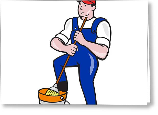 Foot-step Greeting Cards - Janitor Cleaner Holding Mop Bucket Cartoon Greeting Card by Aloysius Patrimonio
