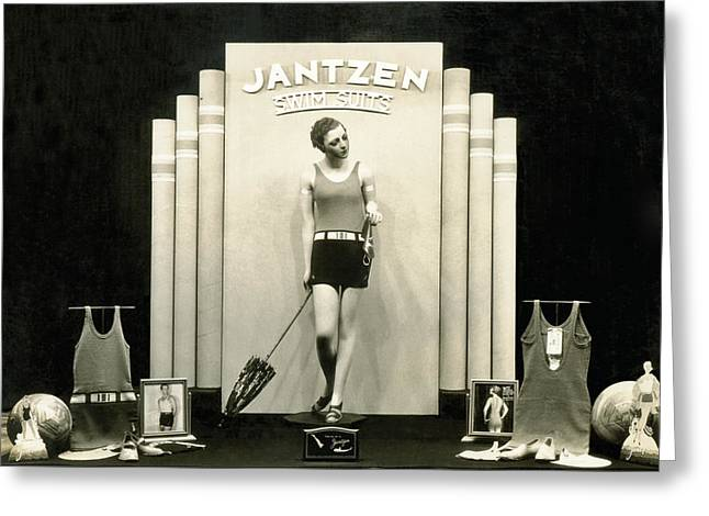 Jantzen Swim Suit Display Greeting Card by Underwood Archives