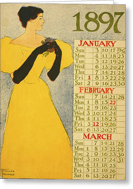 Woman In A Dress Greeting Cards - January February March Greeting Card by Edward Penfield
