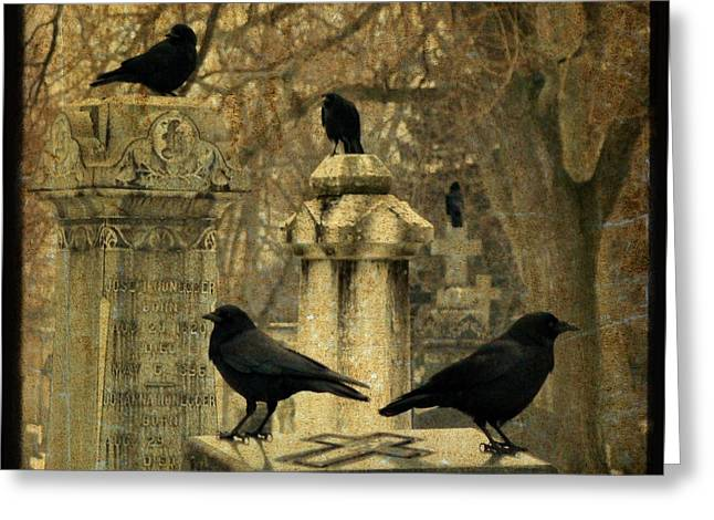 Winter Crows Greeting Cards - January Darkness Greeting Card by Gothicolors Donna Snyder