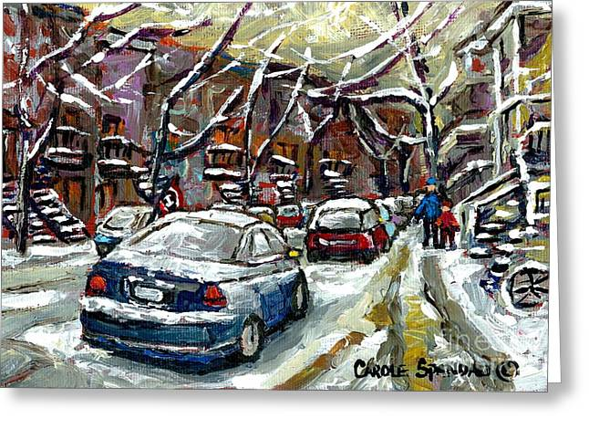 Verdun Connections Greeting Cards - January In Montreal Snow Covered Streets  Verdun Cars In Winter City Scene Paintings Carole Spandau Greeting Card by Carole Spandau