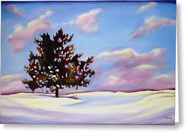 Drifting Snow Paintings Greeting Cards - January Greeting Card by Sheila Diemert