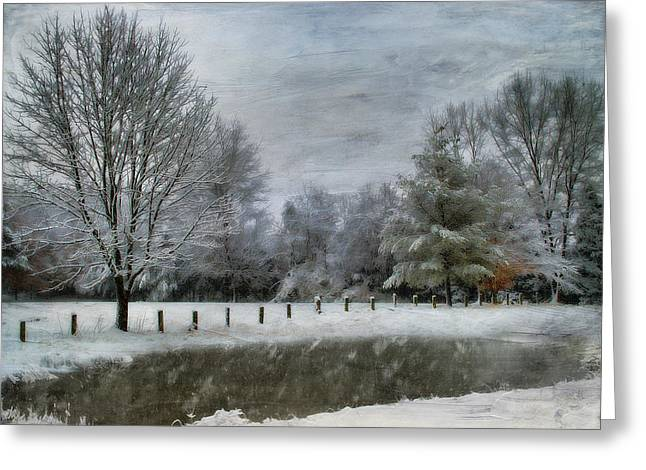 Snow Tree Prints Greeting Cards - January Snow Greeting Card by Kathy Jennings