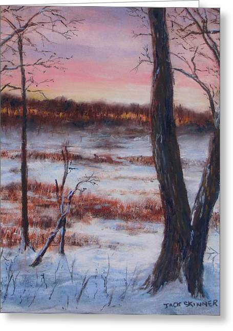 Winter Scene Pastels Greeting Cards - January Sunrise Greeting Card by Jack Skinner