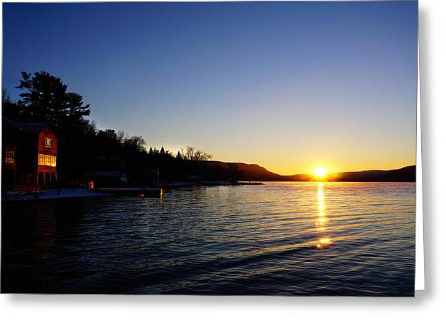 Keuka Greeting Cards - January Twilight Greeting Card by Bob Magee