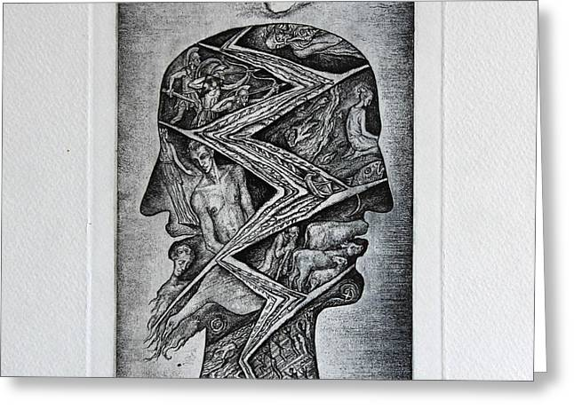 Drypoint Greeting Cards - Janus Greeting Card by Leonid Stroganov