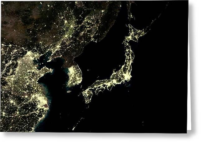 Japan And Korean Peninsula At Night Greeting Card by Planetobserver