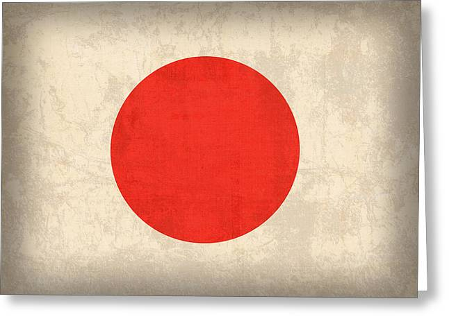 Osaka Greeting Cards - Japan Flag Vintage Distressed Finish Greeting Card by Design Turnpike