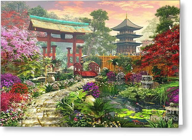 Cobble Stone Greeting Cards - Japan Garden Variant 1 Greeting Card by Dominic Davison