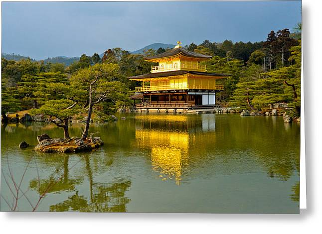Kyoto Pyrography Greeting Cards - Japan Golden Tample Kinkaku-ji Greeting Card by Wachira Lamai