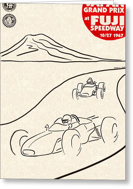Rally Greeting Cards - Japan Grand Prix 1967 Greeting Card by Nomad Art And  Design