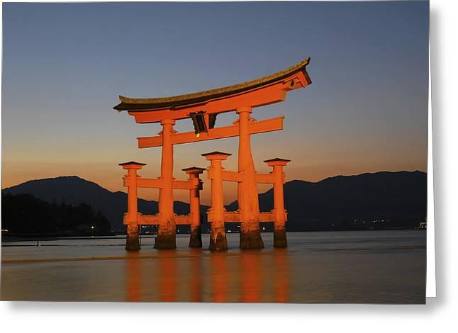 Miyajima Greeting Cards - Japan, Hiroshima, Torii Gate, Miyajima Greeting Card by Tips Images