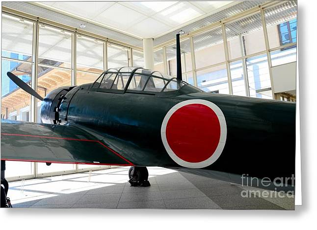 Military Airplanes Greeting Cards - Japan Imperial Air Force World War Two Zero fighter airplane Greeting Card by Imran Ahmed