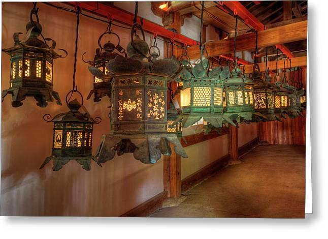 Japan, Kyoto Interior Of Shinto Shrine Greeting Card by Jaynes Gallery
