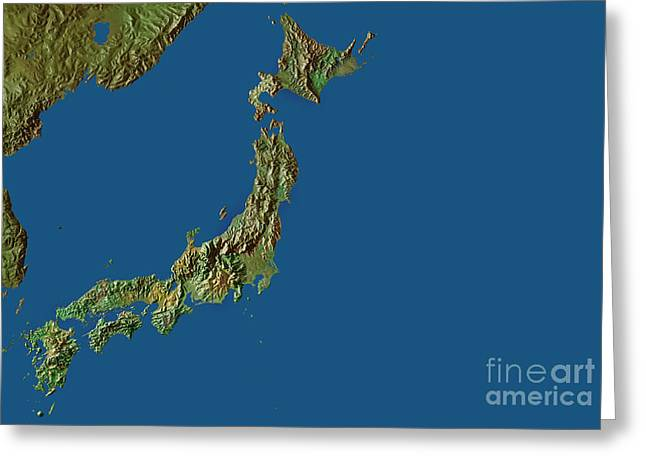 Relief Map Greeting Cards - Japan Greeting Card by Mike Agliolo