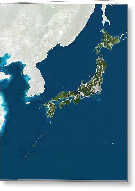 East China Greeting Cards - Japan, satellite image Greeting Card by Science Photo Library