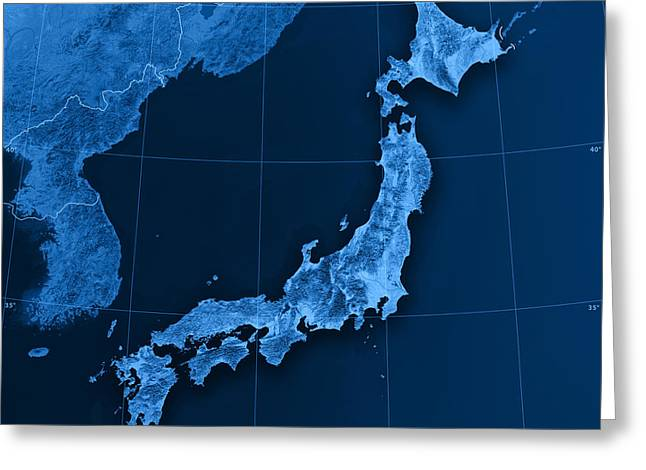 Render Greeting Cards - Japan Topographic Map Greeting Card by Frank Ramspott