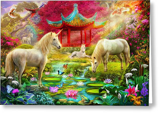 Caring Mother Photographs Greeting Cards - Japan Unicorn Greeting Card by Jan Patrik Krasny
