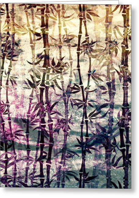 Bamboo Wall Greeting Cards - Japanese Bamboo Color Grunge Greeting Card by Georgiana Romanovna