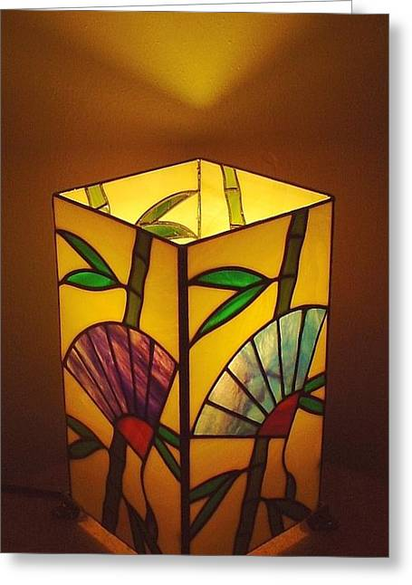 Tropical Stain Glass Glass Art Greeting Cards - Japanese Bamboo n Fan lamp Greeting Card by DK Nagano