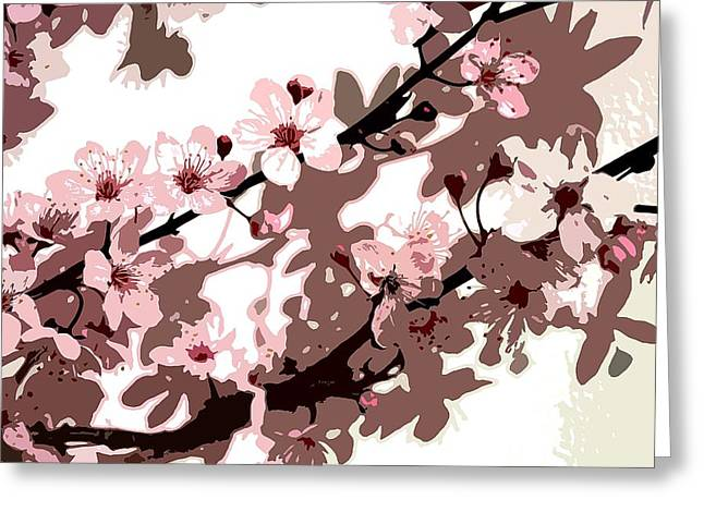 Sensitive Greeting Cards - Japanese Blossom Greeting Card by Sarah OToole