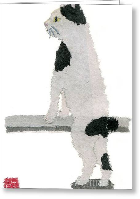 Recently Sold -  - Tears Greeting Cards - Japanese Bobtail Cat Hand-torn Newspaper Collage Art Pet Portrait Greeting Card by Keiko Suzuki