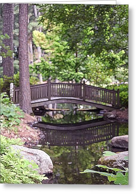 Sun Rays Paintings Greeting Cards - Japanese bridge in botanical garden 2 Greeting Card by Lanjee Chee