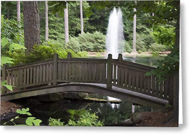 Sun Rays Paintings Greeting Cards - Japanese bridge in botanical garden 4 Greeting Card by Lanjee Chee