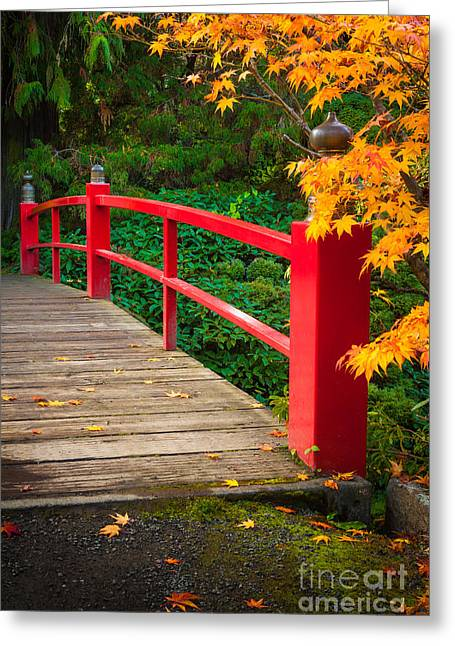 Picturesque Greeting Cards - Japanese Bridge Greeting Card by Inge Johnsson
