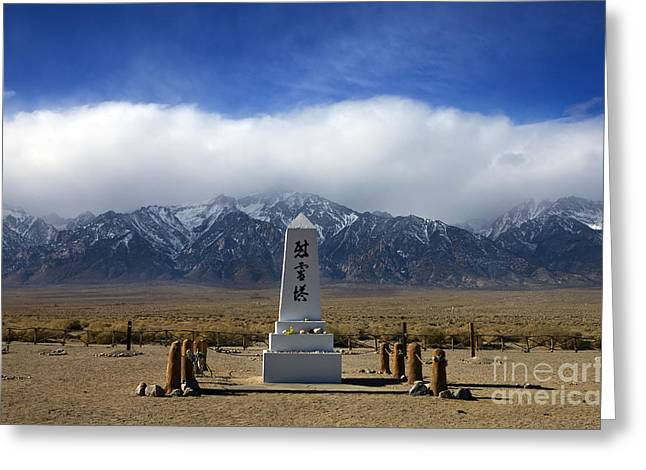 Snow Capped Greeting Cards - Japanese Cemetery Memorial Manzanar National Historic Site Greeting Card by Jason O Watson