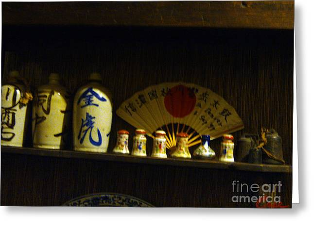 Japanese Ceramic Sake Bottles With Fan And Bells Greeting Card by Feile Case
