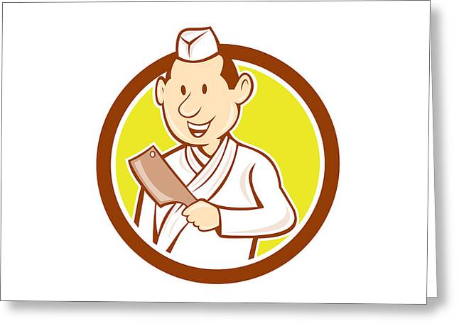 Butcher Knife Greeting Cards - Japanese Chef Cook Meat Cleaver Circle Cartoon Greeting Card by Aloysius Patrimonio
