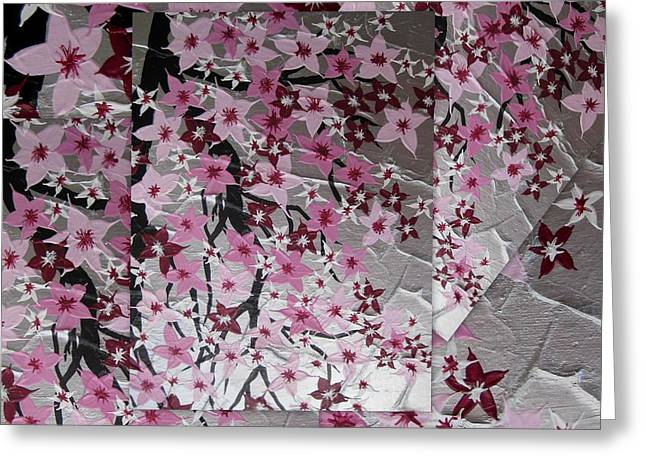 Pink Flower Branch Digital Art Greeting Cards - Japanese Cherry Blossoms Greeting Card by Cathy Jacobs