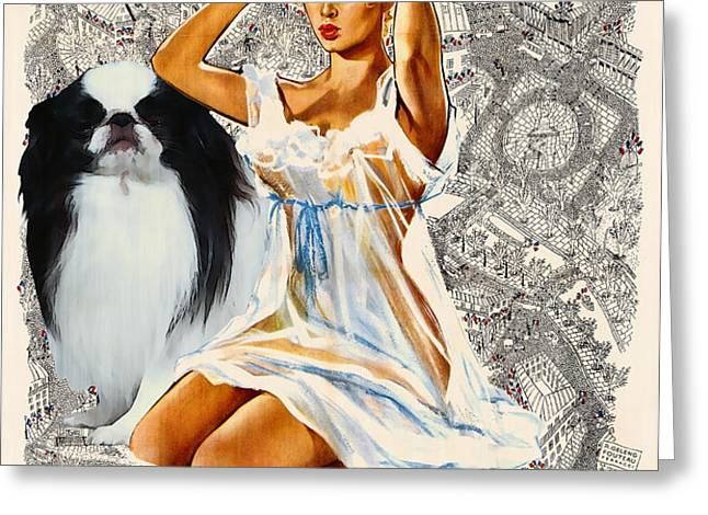 Japanese Chin Art - Una Parisienne Movie Poster Greeting Card by Sandra Sij