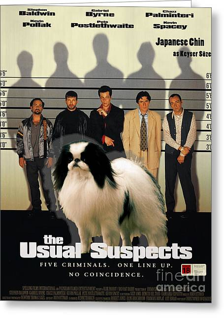 Japanese Dog Greeting Cards - Japanese Chin Art Canvas Print - The Usual Suspects Movie Poster Greeting Card by Sandra Sij