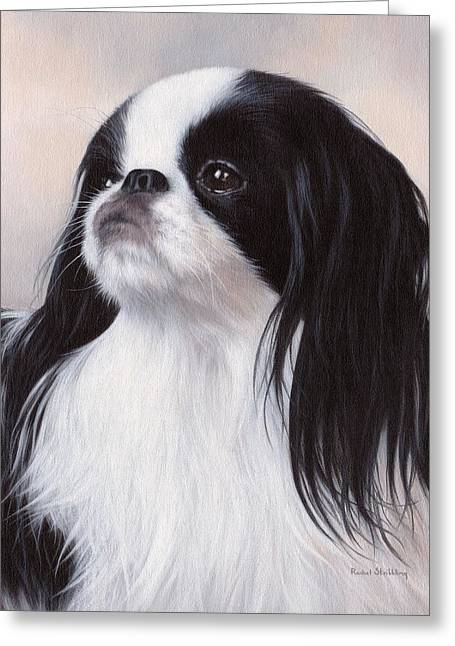 Chin Greeting Cards - Japanese Chin Painting Greeting Card by Rachel Stribbling