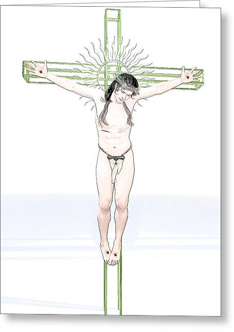 Calvary Greeting Cards - Japanese Christ Greeting Card by Joaquin Abella