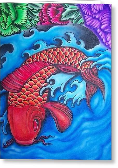 Coy Fish Mixed Media Greeting Cards - Coy Fish Greeting Card by Jose Vargas