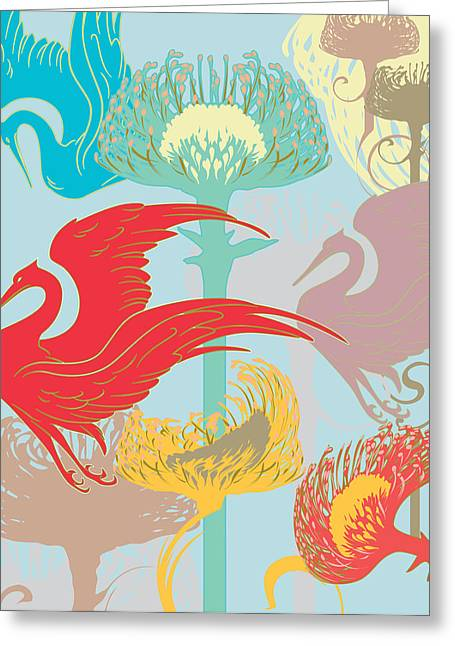 Japanese Crane And Protea Flower Greeting Card by Barry Orkin