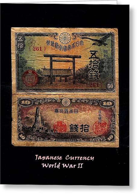 Fineartamerica Mixed Media Greeting Cards - Japanese Currency from World War II Greeting Card by Diane Strain