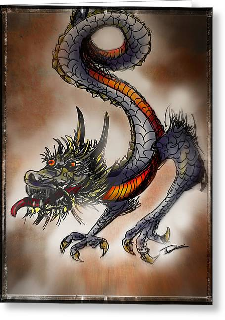 Fantasy Creature Greeting Cards - Japanese Dragon Greeting Card by Tim Nichols