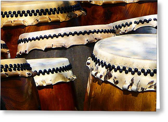 Instruments Greeting Cards - Japanese Drums Greeting Card by Susan Savad