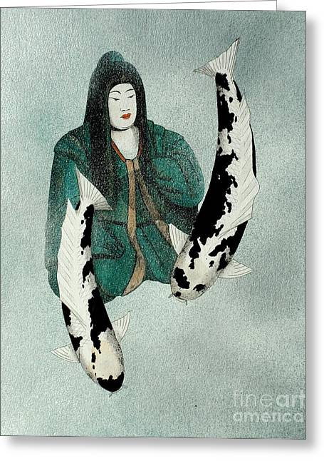 Sakana Greeting Cards - Japanese Empress Shinko Utsuri mono painting Greeting Card by Gordon Lavender