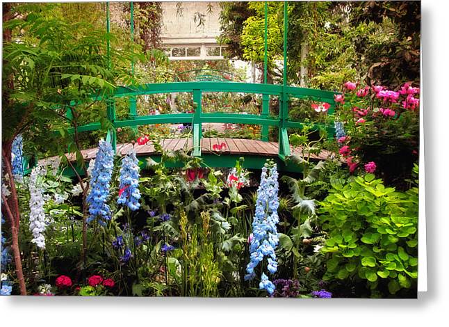 Foxglove Flowers Greeting Cards - Japanese Footbridge Greeting Card by Jessica Jenney