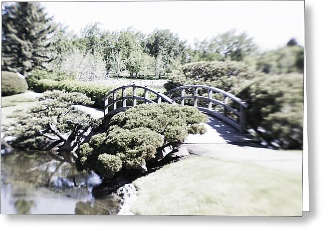 Infer Greeting Cards - Japanese Garden Bridge Inferred Greeting Card by Dan Panattoni