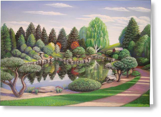 Bright Pastels Greeting Cards - Japanese Garden Greeting Card by Bruce MacBride