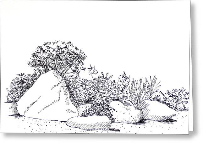 Garden Scene Drawings Greeting Cards - Japanese Garden Greeting Card by Deborah Dendler