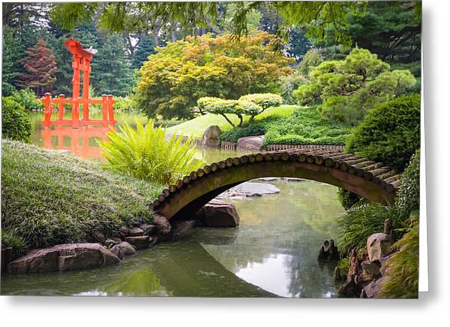 Cha Greeting Cards - Japanese Garden - Footbridge over the Pond - Gary Heller Greeting Card by Gary Heller